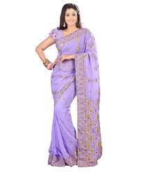 Light Purple Color Saree Triveni Entrancing Light Purple Colored Embroidered Faux