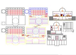 mosque drawing elevation floor plan