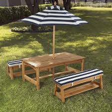kidkraft outdoor table chair set with navy cushions 106 from hayneedle com