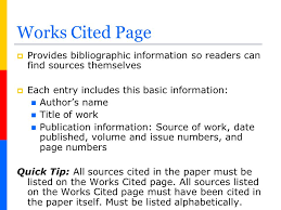 cited sources mla how to create a works cited page in mla format ppt video online