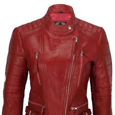 las women soft real leather biker jacket size