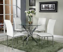 Round Dining Set With 4 White Chairs Amazon Co Uk Kitchen Home