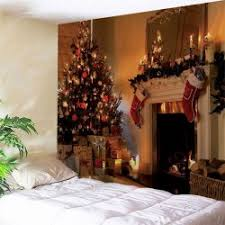 christmas fireplace print wall decor tapestry w59 inch l51 inch polyester removable washable on christmas wall art tapestry with designer wall art tapestry online shopping store trendy wall art