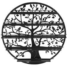 tree silhouette black round metal wall mounted 5 tier salon nail polish rack holder wall