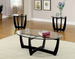 glass coffee table and end tables set image black metal finish base top modern dafni in