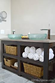 low cost bathroom updates build your own open shelf vanity for under 100 via