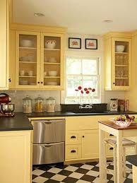 yellow kitchen color ideas. Black And White Checkerboard Floor With Yellow Wall Color For Enticing Kitchen Colour Combinations Ideas N