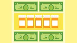 dollar bills and prescription bottles