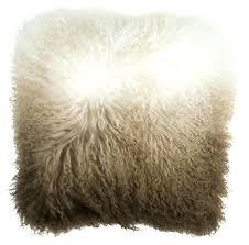 mongolian sheep cushion fur brown white blush sheepskin rug