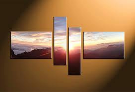 4 piece brown landscape sunrise multi panel canvas