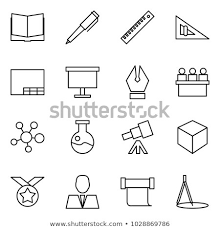 flat vector icon set open book vector pen ruler angle drawing presentation board ink lecture hall molecule flask astronomy 3d cube medal