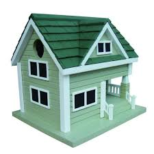 home bazaar grey with green roof bungalow birdhouse