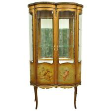 french louis xv style vernis martin curved glass vitrine curio display cabinet for