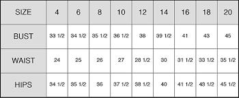 Dress Size Chart Measurements St Pucchifaq