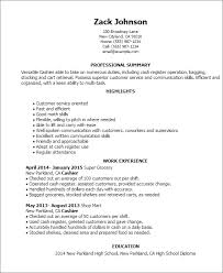 cashier resume summary