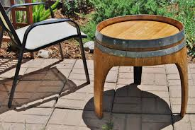 arched napa valley wine barrel end table with 3 legs upcycled wine barrel furniture zoom arched napa valley wine barrel table
