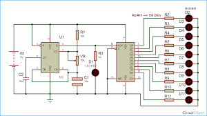 led circuit diagrams ireleast info led chaser circuit diagram using ic 555 and cd 4017 wiring circuit