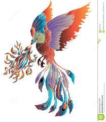 иллюстрация птицы огня феникса и дизайн характера нарисованная рукой