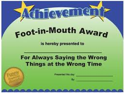 Most Likely To Award Template Foot In Mouth Award Employee Awards Funny Certificates