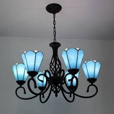 white lily fl inverted 6 light tiffany stained glass shade chandelier in black