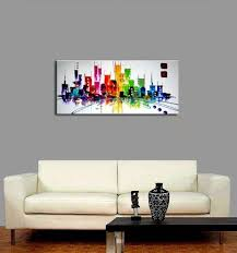 Small Picture Wieco Art Cityscape Extra Large Colorful City 100 Hand Painted