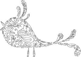 白黒の花のイラスト 鳥模様 схемы картинки разное для творчества