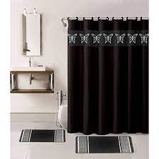 15 Piece Hotel Bathroom Sets 2 Non Slip Bath Mats Rugs Fabric Shower Curtain 12 Hooks Butterfly Black Walmart Com Walmart Com