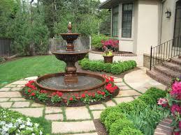 kansas city garden fountains red flowers