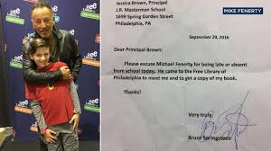 Bruce Springsteen Signs Philadelphia Fifth-Grader's Absence Note ...