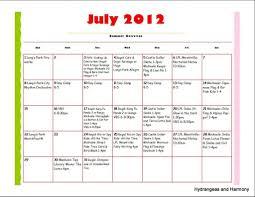 Summer Camp Schedule Template Blank Calendar Template