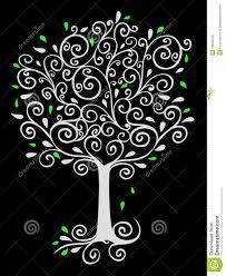 Filigree Tree on Black stock illustration. Image of embellishment ...