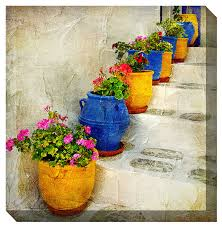 west of the wind outdoor canvas wall art bright pots