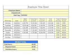 Excel Time Sheet Calculator Any Pay Period Template Excel Timesheet With Overtime Free