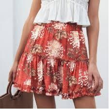 2018 <b>New Fashion Women</b> Ladies Red Skirts Floral Print Boho ...