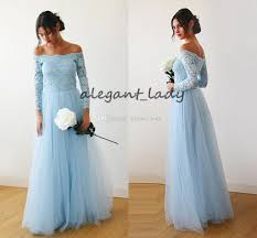 Light Blue Wedding Dress With Sleeves Light Sky Blue Long Bridesmaid Dresses With Long Sleeve 2019 Off Shoulder Full Length Maid Of Honor Junior Wedding Guest Party Gown Cheap Royal Blue