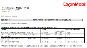 this is from the cur msds for mobil 1 0w 20 i don t see it broken out as afe anymore on the us msds search engine