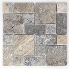 avenzo silver versailles mosaic travertine floor and wall tile common 12 in x