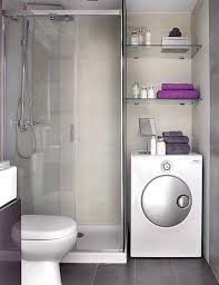 Bathroom Partition Walls Gray Wall Paint White Washer Machine Glass Towelshelving Shower