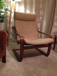 ikea poang chair cream beige leather cover dark wood walnut 1 of 7only 1 available see more