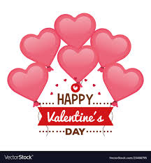 Happy valentines day card with hearts balloons Vector Image