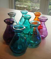 coloured recycled glass bud vases