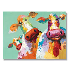 71 warm color pop art three cow hand painted oil painting