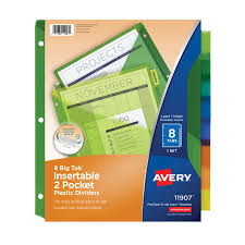 Office Depot Divider Templates Avery Big Tab Insertable Plastic Dividers Double Pocket Multicolor 8 Tab