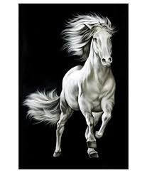 art factory black white horse painting