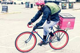 Image result for photo of pizza delivery man on bike