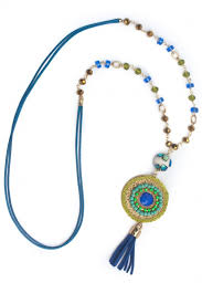 nativo crafts colorful pendant necklace with crystals and semi precious stones