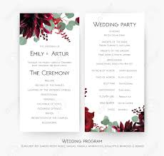 Templates For Wedding Programs Wedding Program For Party Ceremony Card Design With Red Rose