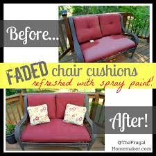 painting patio furnitureFaded chair cushions refreshed with spray paint