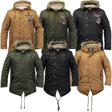 details about mens fish tail parka jacket soul star sherpa hooded fur badge military padded