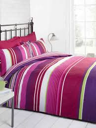 red pink purple green and white striped teen double duvet cover bedding bed set co uk kitchen home